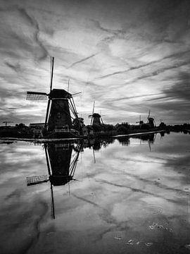 Zwart wit Kinderdijk van Jeffrey Van Zandbeek