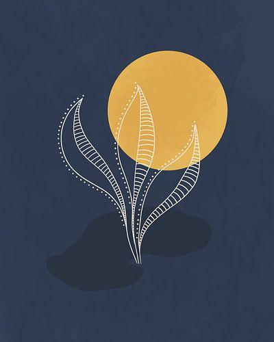 Minimalistisch landschap met en gouden maan en een fantasie plant