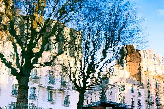 Woningen en bomen in het water weerspiegeld van Mark Scheper