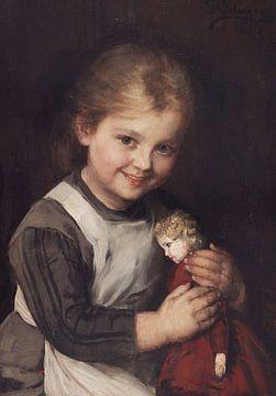 Kind met pop, FRANZ VON DEFREGGER, 1881 van Atelier Liesjes