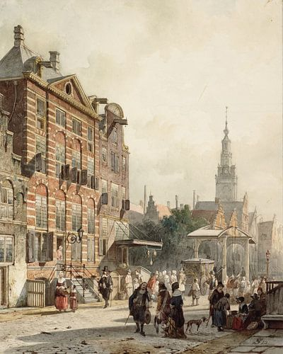 Schilderij Rembrandt - Huis bewoond geweest door Rembrandt van Rijn op de Jodenbreestraat te Amsterd van