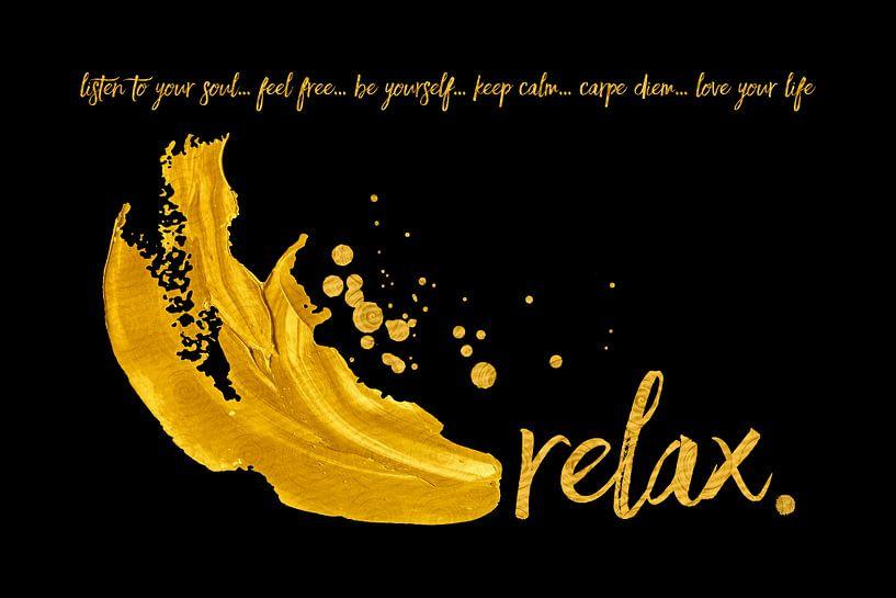 Text Art Relax | black/golden van Melanie Viola