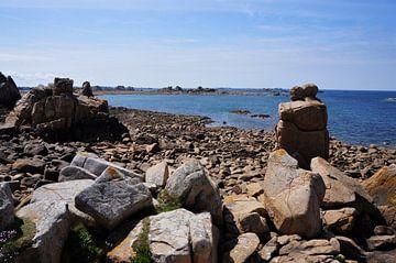 Bijzondere rotsformatie verliefd koppel aan de roze graniet kust Bretagne van