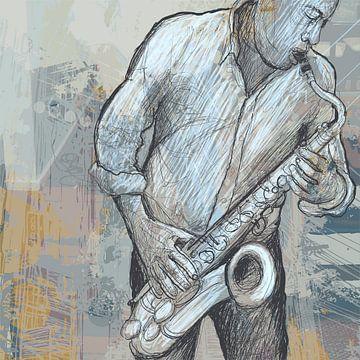 Muziek Saxofoon van STUDIO68 wanddecoratie