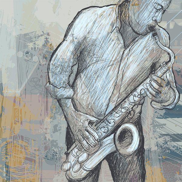 Muziek Saxofoon von STUDIO68 wanddecoratie