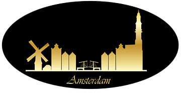 tekening van de skyline van amsterdam van Compuinfoto .
