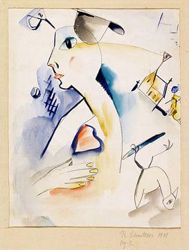 Mann schaaft Lilablau, Kurt Schwitters, 1919 von Atelier Liesjes