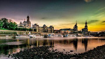 Zonsondergang in Dresden van Sven Frech