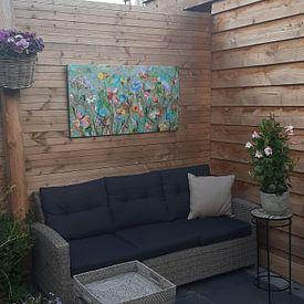 Klantfoto: Wild flower field van Atelier Paint-Ing, op canvas