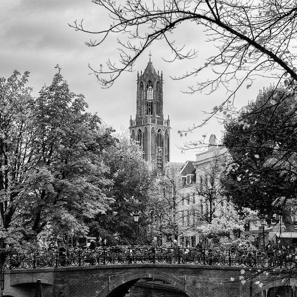 De Dom van Utrecht gezien vanaf de Oudegracht in het vierkant van De Utrechtse Grachten