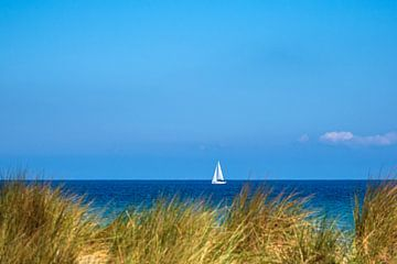 Gezicht op de Oostzee met zeilboot en duin van Rico Ködder