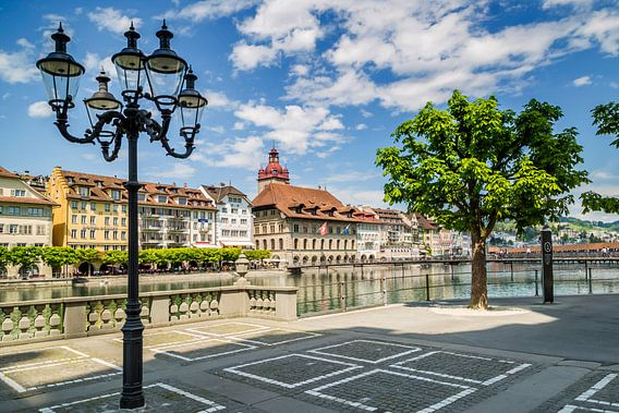 LUCERNE View from Jesuit Place to Town Hall van Melanie Viola
