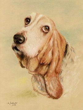 Basset Hound Dog Portrait van Marita Zacharias