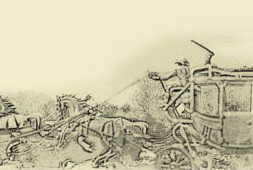 Postkoets met paarden en cowboy in het wilde westen van Cor Heijnen