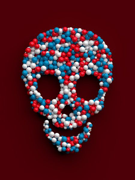 Grappige schedel gemaakt van gekleurde ballen van Jörg Hausmann