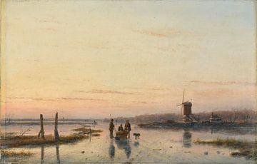 Moulin à vent au bord d'une rivière gelée, Andreas Schelfhout sur