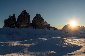 Drei Zinnen Dolomieten bij zonsondergang. van Hidde Hageman