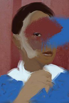Porträt rosa und blau von Carla Van Iersel