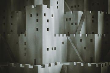 Abstrakte Fantasy-Stadt mit digitalem Filmkorn