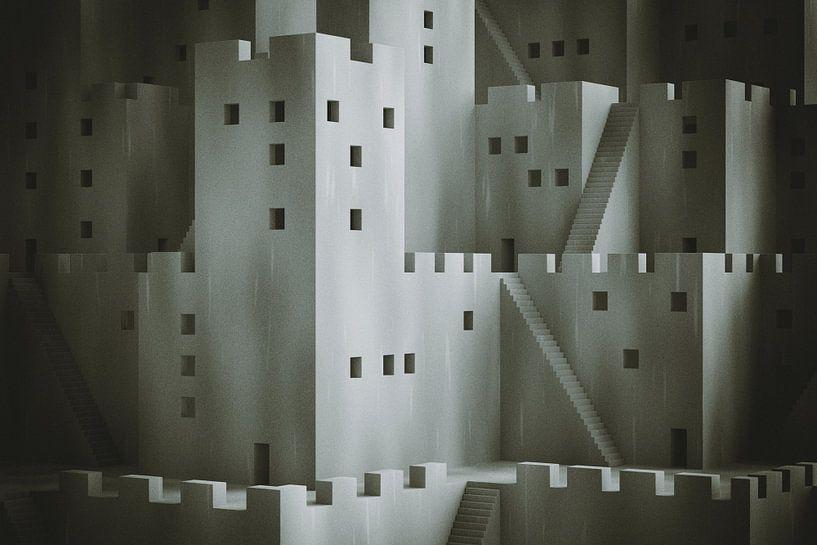 Abstrakte Fantasy-Stadt mit digitalem Filmkorn von Jörg Hausmann