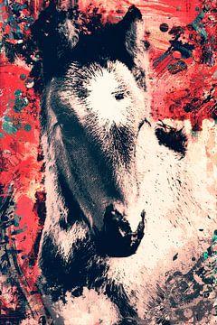 Vintage abstract portret van een paard van Nannie van der Wal