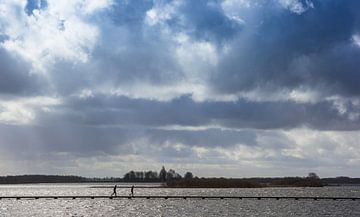 Donkere wolken boven het meer in natuurgebied Roegwold in Groningen van Marc Venema