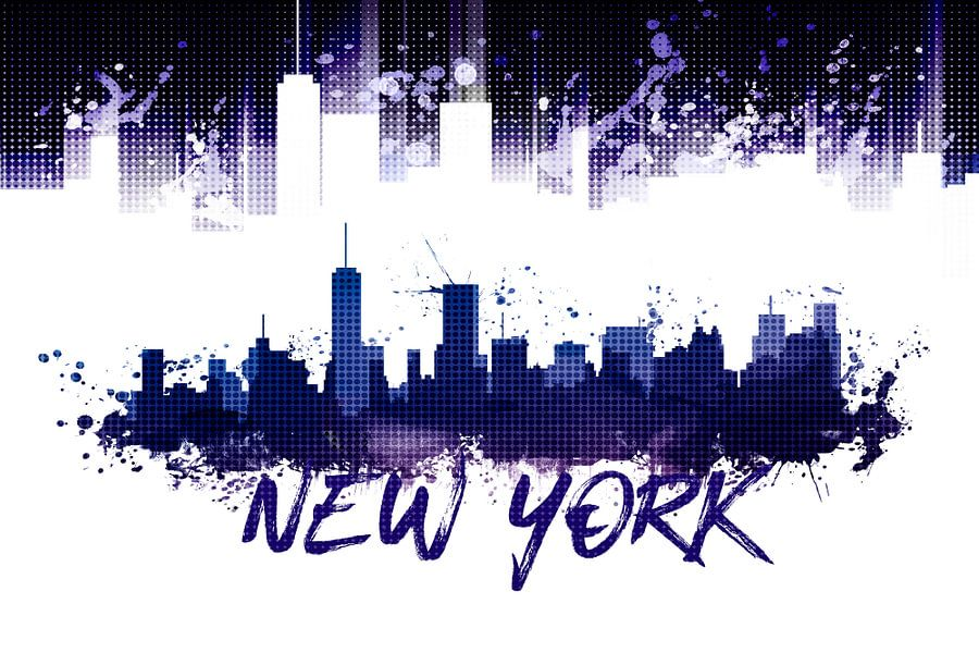 Graphic Art NYC Skyline Splashes | purple