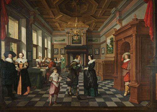 Zevendelige kamerbeschildering: Een interieur, Dirck van Delen van