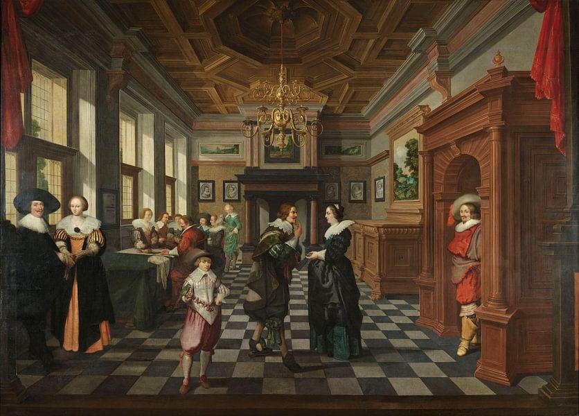 Zevendelige kamerbeschildering: Een interieur, Dirck van Delen