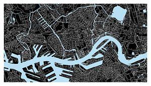 Rotterdam Plattegrond - Panorama Zwart met een witte kader