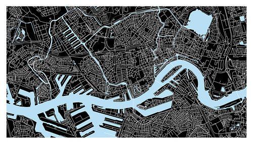 Rotterdam Plattegrond - Panorama Zwart