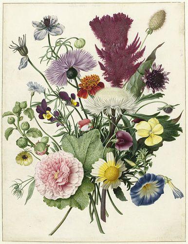 Boeket bloemen op witte achtergrond van Hollandse Meesters