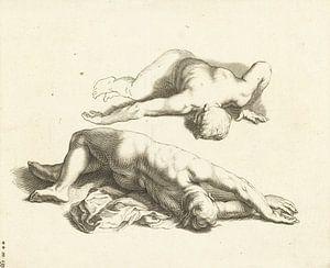 Abraham Bloemaert, Het teekenboek van, Twee mannelijke naakten, ca 1679