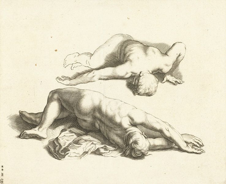 Abraham Bloemaert, Het teekenboek van, Twee mannelijke naakten, ca 1679 van Atelier Liesjes