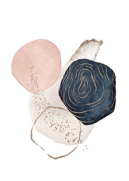 Modern Aquarel Schilderij Met Abstracte Vormen van Diana van Tankeren