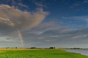Hollandse luchten - regenboog over een fris groen landschap van Dirk-Jan Steehouwer