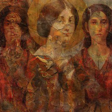 Klassische Collage mit drei Damen von Joost Hogervorst