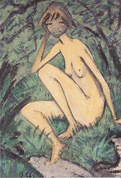 Sitzender Akt in Landschaft, Otto Mueller - ca1927