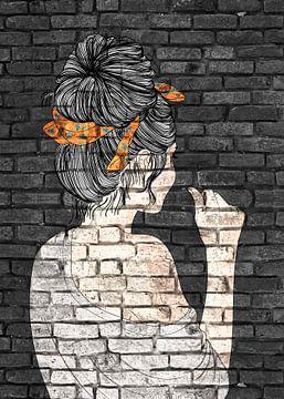 Mädchen mit Dutt Graffiti Street Art von KalliDesignShop