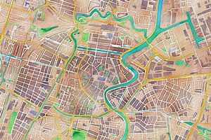 Kleurrijke kaart van Haarlem van