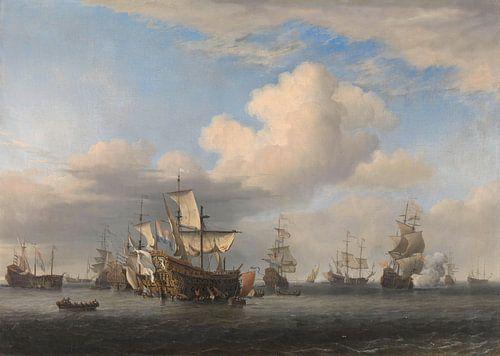 Veroverde Engelse schepen na de Vierdaagse Zeeslag, Willem van de Velde (II) van Meesterlijcke Meesters