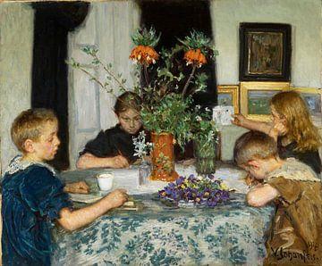 Viggo Johansen-Kinder malen Frühlingsblumen