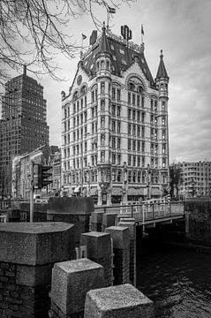 Het Witte Huis, Oude Haven, Rotterdam. Schwarz und Weiß von Marc Goldman