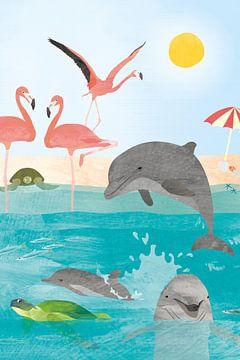 Flamants roses et dauphins au soleil sur Karin van der Vegt