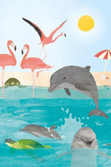 Flamingos und Delphine in der Sonne