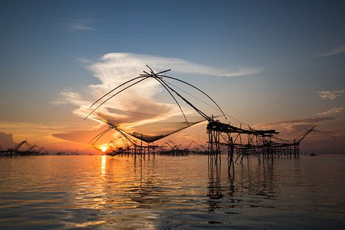 Fischernetze in den Feuchtgebieten von Phatthalung, Thailand von Johan Zwarthoed