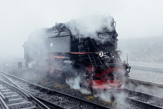 Railway with  steam and fog van Oliver Henze