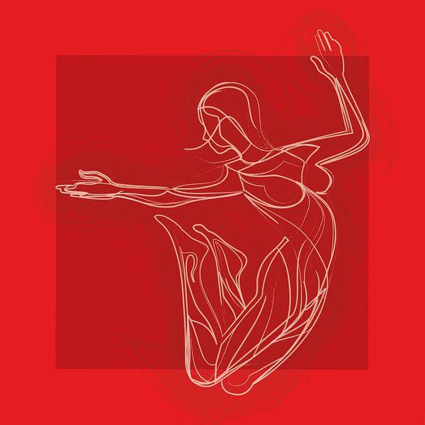 Bewegen is vrijheid en emotie (Rood) van Color Square