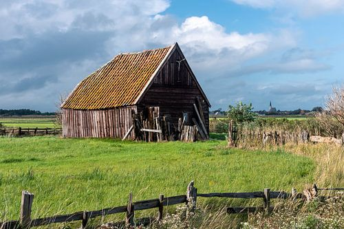 Oude houten boerenschuur met pannendak (Den Hoorn; Texel)