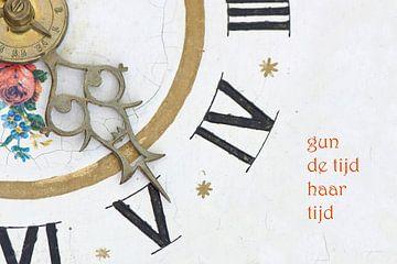 Wijzers van Friese klok met tekst van Bargo Kunst